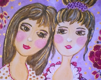 The sisters-painting acrylic portrait of girl-20 x 20