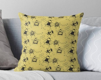 Bees and Hexagons Square Pillow
