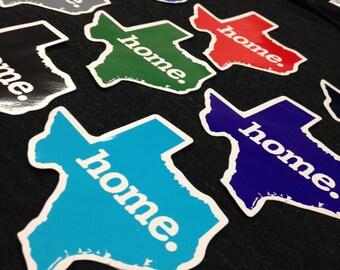 Texas Home. Colored Vinyl Sticker