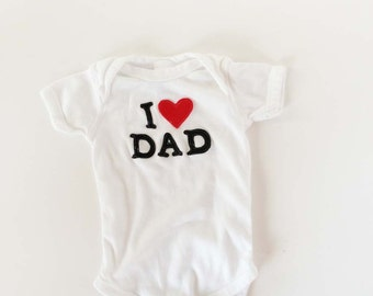 I Heart Dad Father's Day One Piece Bodysuit