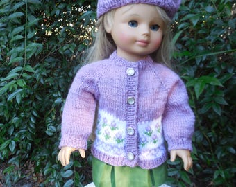 Hand knitted violet sweater with flowers and a green cotton skirt made for American Girl and other similar 18 inch dolls.