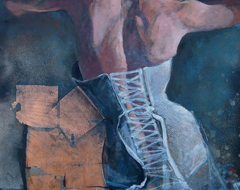 Fine Art Print -  Ties That Bind - Open Edition Print of Multi Media Figure Painting