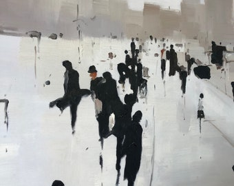 Sleek City Scape / STRETCHED Oil Painting / Canvas Art / Black & White / Busy People