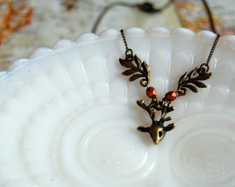 little deer necklace- antique brass with leaf accent and copper czech glass beads-vintage woodland