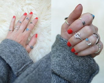 7 Retro Stacked Boho Silver & Turquoise Blue Gem Rings Set