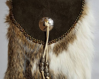 Leather and Rabbit Fur Purse with Concho & Beaded Accents