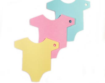 Die Cut, Hang Tags, Baby Shower Tag, Onesie Gift Tags, Pink, Blue, White or Yellow CP-2017