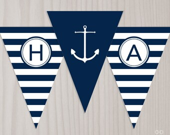 Preppy Nautical Birthday Banner, INSTANT DOWNLOAD Printable PDF Happy Birthday Banner, Anchor Banner, Bunting Flags, Navy Blue and White