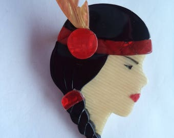 Vintage Signed Lea Stein Indian Maiden Brooch/Pin
