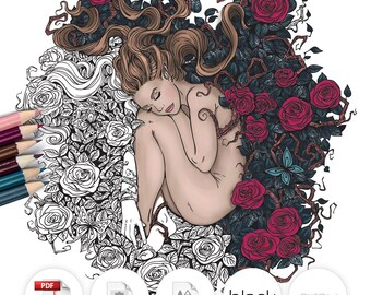 Adult Coloring Page Fantasy Girl Roses Line Art