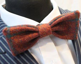 Bow Tie. UK Made. Harris Tweed Rust. Wool. Premium Quality. Pre-Tied.