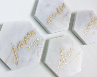 White Marble Hexagon Calligraphy Place Cards