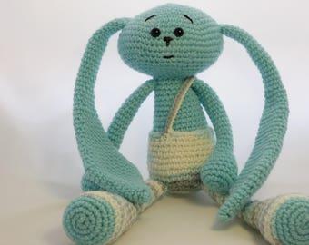 Crochet rabbit, crochet bunny, crochet hare, knitted hare, knit rabbit, turquoise hare