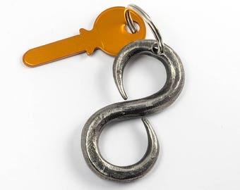 Infinity keychain / 6th anniversary gift / hand-forged keychain / iron anniversary gift / blacksmith made / iron gift / forged iron keychain