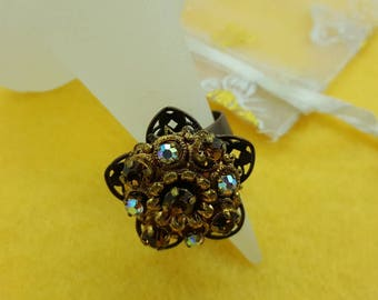 Old Gold Victorian Style Ring with Amber rhinestones Adjustable size