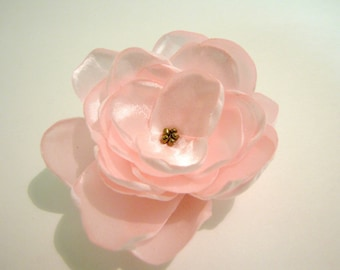 Pink satin flower hair clip with antique gold beaded center