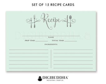 Recipe Cards Gift Set of 15 Recipe Cards Pack of 15 Recipe Card Gift Set Mint and Silver Glitter Utensils Kitchen Modern Recipe Cards - Mila