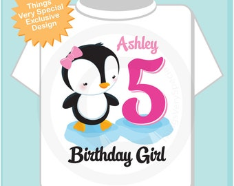Girl's Fifth Birthday Penguin Shirt Personalized Birthday Girl Penguin Theme Tee Shirt or Onesie 07202018a