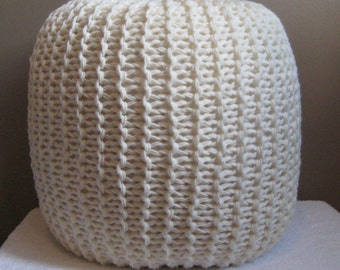 Large Knit Pouf - Cream - Not stuffed