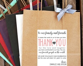 Personalized THANK YOU ... Enjoy Our Celebration Wedding Welcome Bag