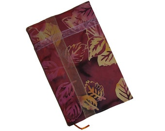 Fabric Book Cover, Journal Cover, Sketchbook, Blank Book, Reusable, Golden Leaves