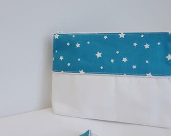 Makeup pouch turquoise stars - free shipping *.