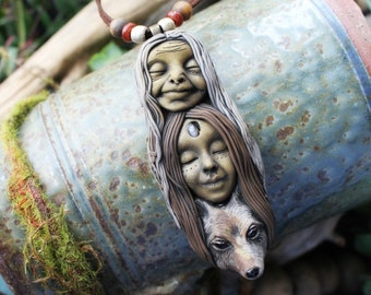 Crone, Mother & Wolf Necklace with Moonstone. Handcrafted Clay. Clay and Gemstone Goddess Necklace.
