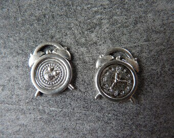 2 silver clock charms