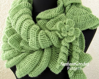 Crochet Pattern, Scarf PATTERN, Ruffle Scarf Pattern, Unique Scarf, DIY Gift For Women, Scarf With Flower, Instant Download, PDF Pattern #18
