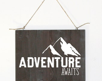 Adventure Awaits, Wood Adventure Sign, Wood Mountain Adventure Sign, Rustic Adventure Wood Sign, Modern Farmhouse Wood Sign, Wood Sign