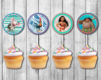 INSTANT DOWNLOAD - Moana Cupcake Toppers, Moana Cupcake Toppers Printable, Moana Instant Download, Moana Party, Moana Printable, Moana Theme