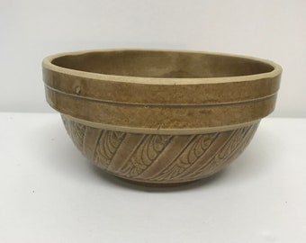 Vintage Crock Mixing Brown Speckled Stoneware Pottery Bowl USA