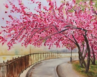 "Cherry Blossom Walk - Original Acrylic Painting on stretched canvas 20""x16"""