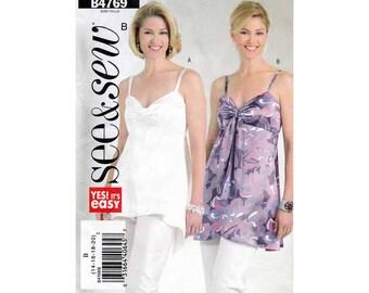 Women's Top Sewing Pattern, Shoulder Straps, Mock Wrap Misses' Size 14-16-18-20 Bust 36, 38, 40, 42 Uncut Butterick See & Sew B4769