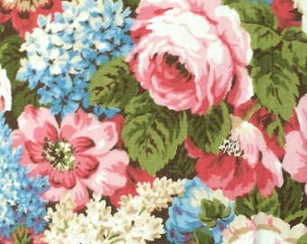 Cotton Fabric / Pink Floral Home Decor/ Vintage Floral Home Decor / Vintage Waverly Fabric / Waverly Sample Fabrics / Pink and Blue Floral