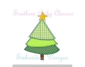 Christmas  Shabby Tree Blanket Stitch Applique Trees Row Pine Design File for Embroidery Machine Instant Download