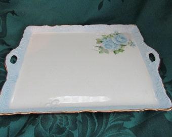 Vintage Hand Painted Floral Vanity Tray, Blue Flowers