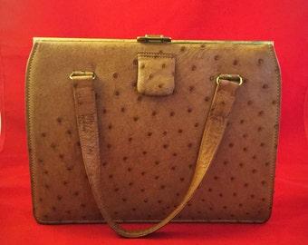 Vintage Ostrich Handbag,Tan Handbag,Vintage Handbag,Leather Handbag., Made In England