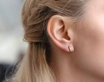 Dainty hoop Earrings, Tiny Sterling Silver Hoop Earrings, Gold Hoop earrings, minimalist jewelry Huggie Hoop Earrings Hoop PIERCING earrings