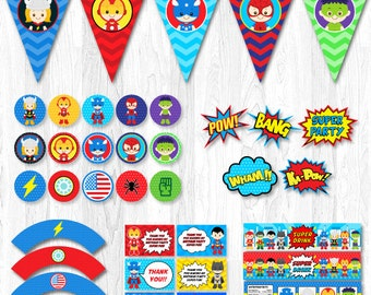 Superhero Party, Superhero Party Decorations, Superhero Party Printable, Superhero Party Package, Superhero Party Supplies