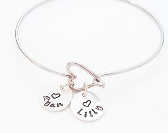 Personalized Mom Bangle Bracelet - Hand Stamped BangleGrandma Bangle Bracelet - Heart Bangle - Personalized Bangle Bracelet -Custom Bracelet