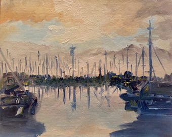 """Harbored Boats at Dusk - Original Impressionist 8x10"""" Oil Painting"""