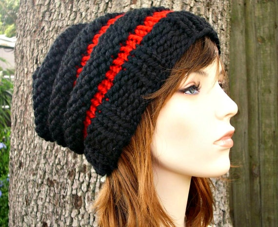 Knit Hat Womens Hat Slouchy Beanie Mens Hat Slouchy Hat - Beehive Beanie in Black and Red Knit Hat - Black Hat Womens Accessories Winter Hat