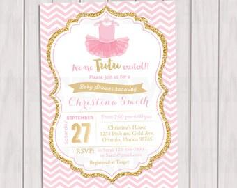 Tutu Pink And Gold Baby Shower Invitation, Ballerina Chevron Invitation,  Girl Baby Shower, Gold Glitter Invite, Printable Invite