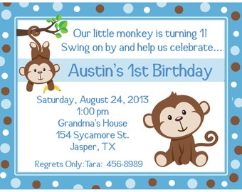 20 Personalized Birthday Invitations   -   Blue Little Monkey