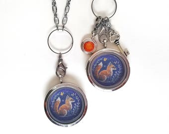 Fox Locket - Fox Jewelry - Fox Charm Necklace - Floating Locket Necklace - Mothers day gift - Wearable Art