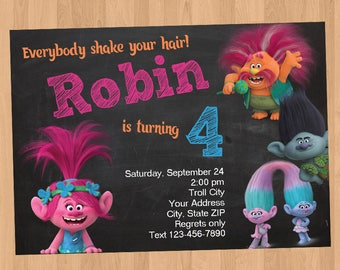 Trolls Birthday Invitation DIY Printable