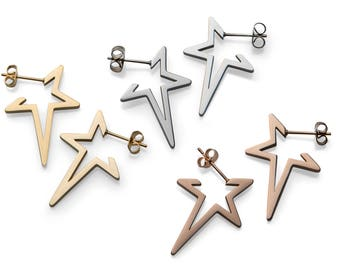 Star Stud Earrings in Silver Gold and Rose Gold - Punk Star Stud Earrings