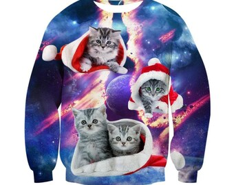 Space Kitten Cat Christmas Santa Klaus Santa Cat Sweatshirt Longsleeves Warm Clothes