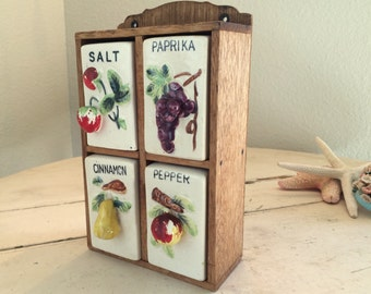 Charming Vintage Spice Rack with Fruit Motif